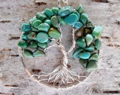 Turquoise Tree of Life Pendant, Wire Wrapped Necklace,  December Birthstone, Woodland Necklace