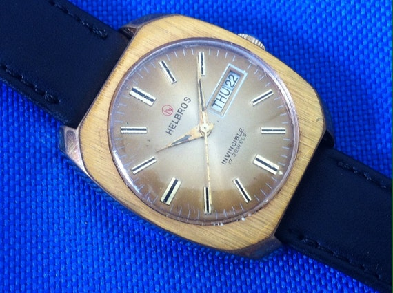 Vintage Mens Watch, Helbros Invincible, 17 Jewels, Brown Dial Day Date, Gold Plated, Classic Sixties Slab Style, Mod Retro, Fine Swiss Watch