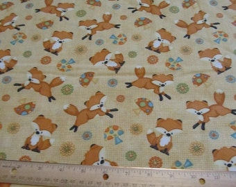 Orange Fox Wooldland Cotton Fabric by the Yard