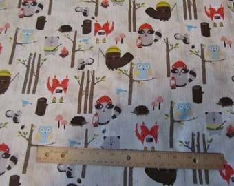 Brown Animals Camping/Fox/Bear/Racoon Cotton Fabric by the Yard