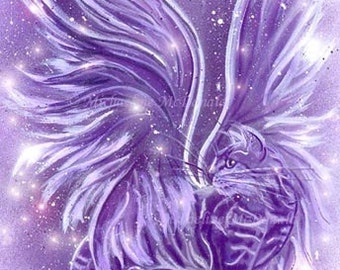 Purple Fairy Cat Painting Fantasy Art Print by Michaeline McDonald