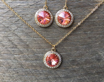 SALE Coral Crystal Set Necklace Earring Swarovski Pendant with Rhinestones on Silver or Gold Chain and French Hook