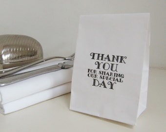 Wedding Favor Bags-Candy Bar Bags-Thank You for Sharing Our Special Day-White Kraft Bags-Wedding Favor Ideas-Wedding Decorations-Weddings-