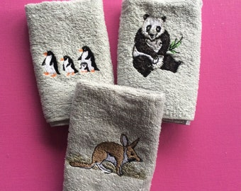 Set of three hand washers with endangered animals