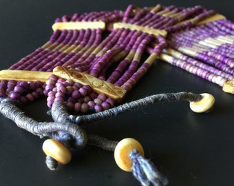 Vintage Statement Necklace Bone Beaded Multi Strand