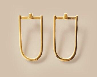 GOLD LONG D EARRINGS