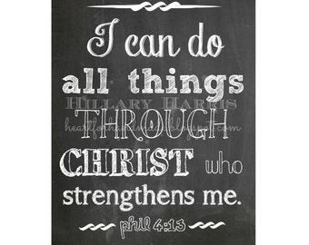 Chalkboard printable 8x10 Philippians 4:13 Bible verse
