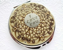 Vintage Wedding I love you Compact Mirror Extra Large Custom Color, Groom to Bride Gift, Wedding Party Gifts real Swarovski Crystals