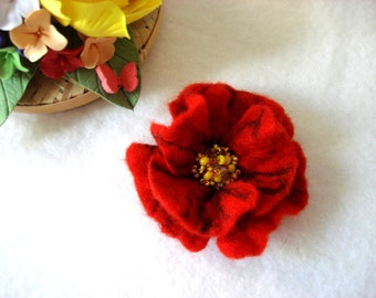 Red Poppy Felted Flower Brooch Pin,Wool Felt, Felted Wool, Felt Brooch, Flower Brooch, Pin, Felt Flower Pin, Beaded Flower, Handmade