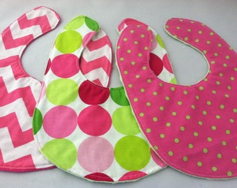 Set of Three Boutique Baby Bibs... Pink and Green Dots and Chevron...Ready to Ship...Shower Chic