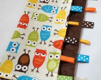 Quick Ship!...Ribbon Sensory Lovey Blanket...Bermuda Owls with Minky...Can be Personalized...No Loops...Shower Chic
