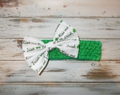Infant, Toddler St Patrick's Day Crochet Headband with Cotton Fabric Bow/Baby, Toddler St Patricks Day Crochet Headband with Removable Clip