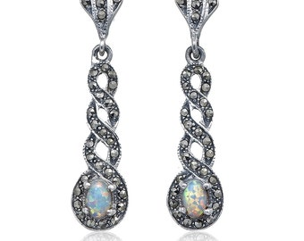 925 Sterling silver Vintage Art deco White Gilson Opal and Swiss Marcasite drop Earrings