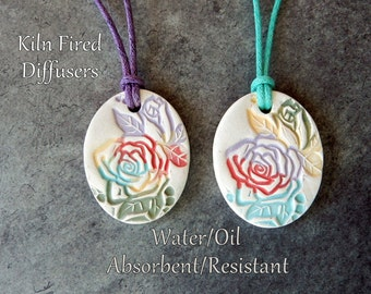 Colorful Aromatherapy Essential Oil Diffuser Necklace Pendant, Healing Eco Friendly Unglazed Floral Nature Jewelry, Yoga Gift for Her