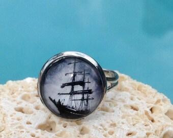 Ship art ring, sailing ship ring, ship jewelry, ring, antique ship jewelry, galleon ring, Ring #HG153R