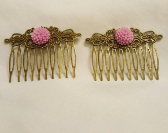 Hair Combs Pink Flowers on Antique Gold