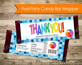 Pool Party Candy Bar Wrapper - Instant Download