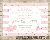 Tutu Baby Shower Invitation - Cute Ballerina Pink Printable Invite, Digital File,  PRINTABLE _1223