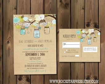 Rustic Wedding Invitation Package with Flowers and Jars, casual, Digital File Wedding Package _1221