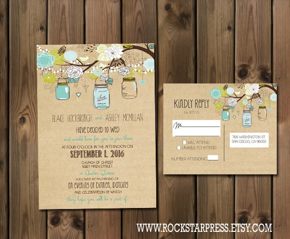 Rustic Wedding Invitation Package With Flowers And Jars
