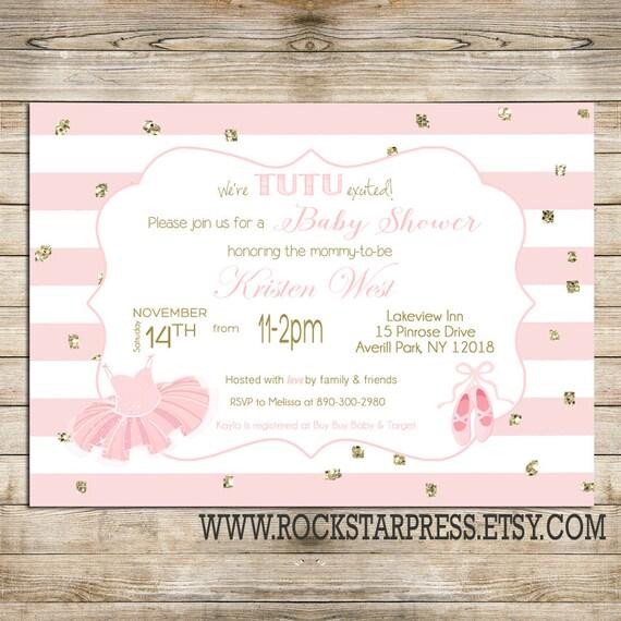 tutu baby shower invitation cute ballerina pink printable invite