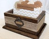 RECIPE BOX, Recipe Dividers, Recipe Cards, Burlap, Brown, Tan and White Chevron Stripe, Modern Rustic, Neutral Dividers, Rustic Recipe Box