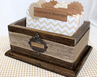 RECIPE BOX, Recipe Dividers, Recipe Cards, Burlap, Brown, Tan and White Chevron Stripe, Modern Rustic, Neutral Dividers, Rustic Recipe Box