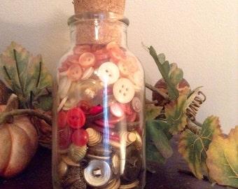 Vintage Glass Jar with Cork Lid  Brass Red Creamy White & Orange Buttons