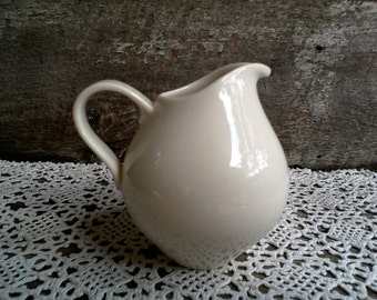 """IRONSTONE CREAMER, Small, Syrup Pitcher, Creamy Off White, 4 1/2"""" tall x 4"""" wide, Farmhouse, Earthenware, Serving Pitcher, Creamer"""