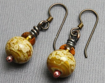 Brown Beaded Earrings, Brown Lampwork Earrings, Amber Color Bead Earrings, Brown Dangle Earrings, Handmade Earrings, Kathy Bankston