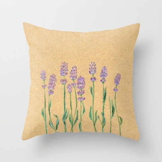Lavender Flower Throw Pillow : Lavender Painting Throw Pillow Cover lavender pillow by lake1221