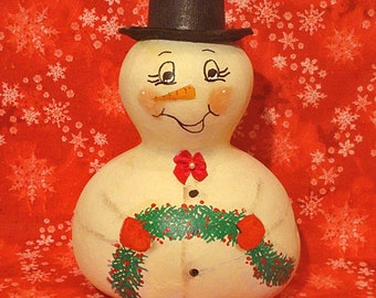 Snowman Gourd, Top Hat, Bow Tie, Swag, Handpainted (SN427)