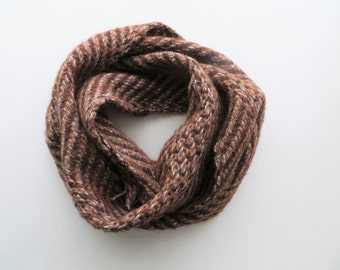 80s Mahogany Knit Scarf Wool Zig Zag Print Winter Accessories for Men and Women