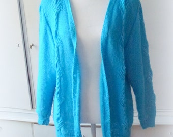 blue hand knit jacket