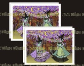 Two Edwardian Witches in a Haunted Forest - Greeting Cards & Envelope Template Instant Digital Download