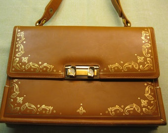 Calfskin Purse, Leather Guild Florence Italy, with Adjustable Strap, Gold Trim and Gold Stamped