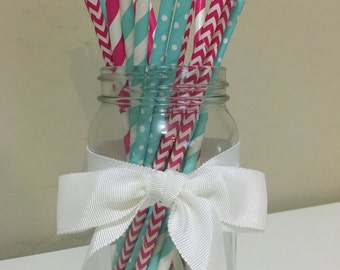 """25 """"He or She?"""" Hot Pink & Baby Blue Paper Straws / Cake Pop Sticks"""
