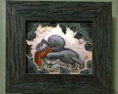 """Original, Signed, Hand Built Wooden Shadow Box / Music Box / Night Light By James Hance - """"There You Are!"""" (Wookiee the Chew)"""