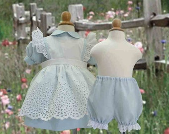Vintage Baby and Toddler Pinafore and Dress Set, Bloomers, Lace Trimmed Socks, Sizes 1, 2, 3, 4 Light Blue, Pink, Lavender, or Yellow Dress