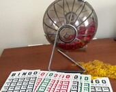 Vintage 1970's BINGO Game w Rolling Cage