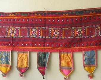 Vintage Indian Hand Embroidered Gypsy Kutch Mirrorwork Tapestry Decorative Window Door  Panel