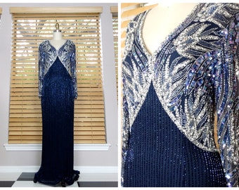 VTG Cassini Navy Beaded Sequin Gown // Navy Blue and Silver Beaded Sequined Dress // Embellished Designer Evening Gown US 6