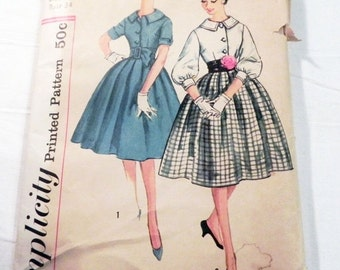 "SALE 1950s Rockabilly dress pleated skirt short sleeves Collar sewing pattern Size 14 Bust 34"" Simplicity 3071"