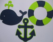 6 Nautical (3 size options) Theme Decorations, Diecut Cutouts, for Diaper Cake, Centerpiece, Birthday Party, Baby Shower, Lime and Navy Blue