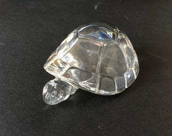 Hadeland Large Crystal Turtle Norway Gold Name Bottom Vintage Paperweight