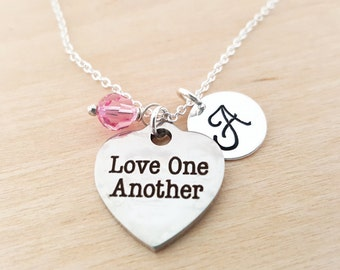 Love One Another Charm - Love Necklace -  Swarovski Birthstone - Initial Necklace - Personalized Necklace - Sterling Silver Necklace
