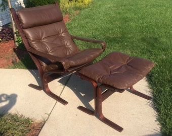 Westnofa Norway Leather/Rosewood  Lounge Chair and Ottoman