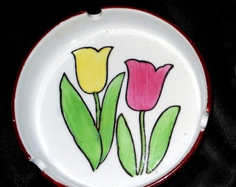 ON SALE Spring Tulips Cat Dish White Ceramic Ashtray, Candy or Trinket Dish  - Loot By Louise