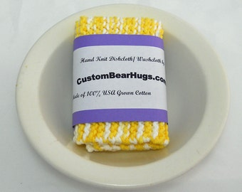 Large Hand Knit Cotton Dishcloth/ Washcloth in Yellow and White,  Mix and Match for Custom Set, Housewarming Gift, Stocking Stuffer