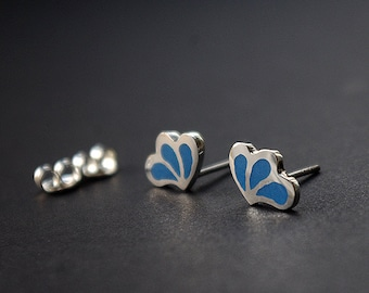 Handmade silver earrings with blue ennamel
